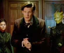 "Clara, the Doctor, and Madame Vastra in ""The Snowmen"""