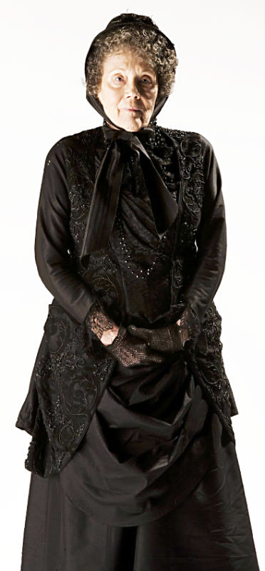 Dame Diana Rigg gets a good Victorian mourning gown.