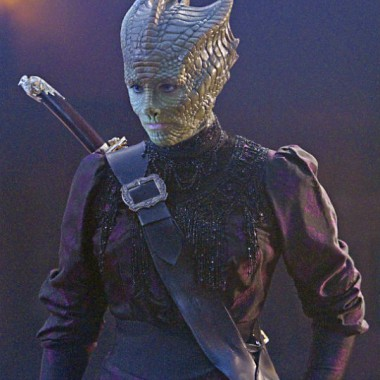 Vastra, kicking ass & taking names, in 1890s attire.