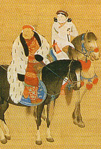 Closeup from 1280s painting of Kublai Khan hunting, note woman riding beside him.