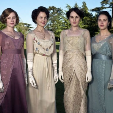 The ladies of Downton, Edith, Cora, Mary, & Sybil, dressed for dinner.