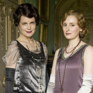 Cora & Edith, fresh new gown style for Lady Grantham, subdued color for Edith.