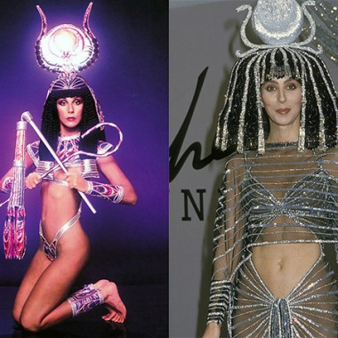 Egyptian-theme costumes by Bob Mackie for Cher in 1975 & 1988.