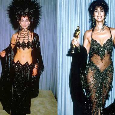 Bob Mackie's Oscar gowns for Cher, 1986 & 1988.