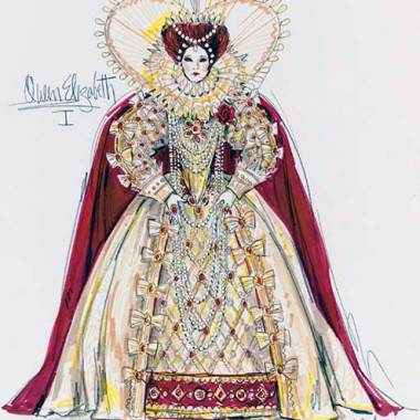 Bob Mackie's sketch for the Queen Elizabeth I costume.