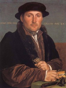 Portrait of a young merchant, probably the Nuremberg patrician Hans von Muffel, aged 28. Painted in 1541 by Hans Holbein the Younger.