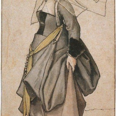 A Young Englishwoman, costume study by Hans Holbein, 1526–28 or c. 1532–35, Ashmolean Museum, Oxford.