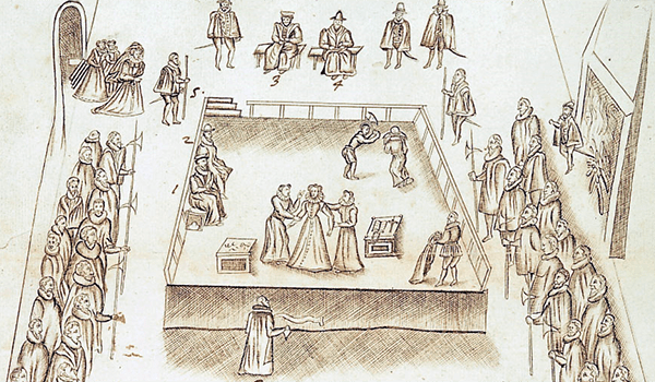 Execution of Mary Queen of Scots Drawing by Robert Beale, 1587