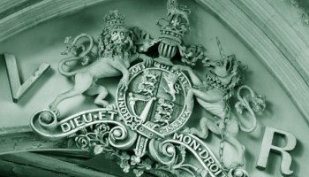 Arms of Queen Victoria above the chancel arch, Bottesford, Wikimedia Commons
